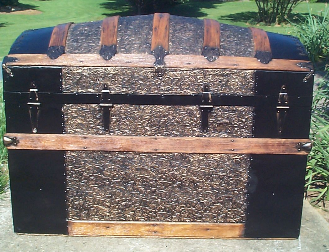 restored metal and wood top antique trunk for sale 795