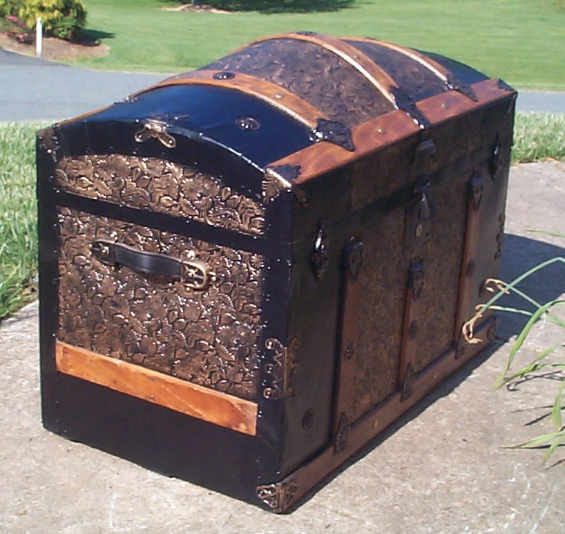 restored all metal and wood top antique trunk for sale 796