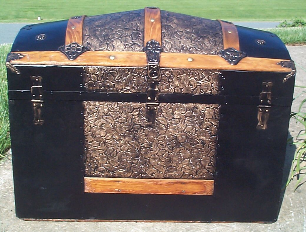 restored metal and wood top antique trunk for sale 796