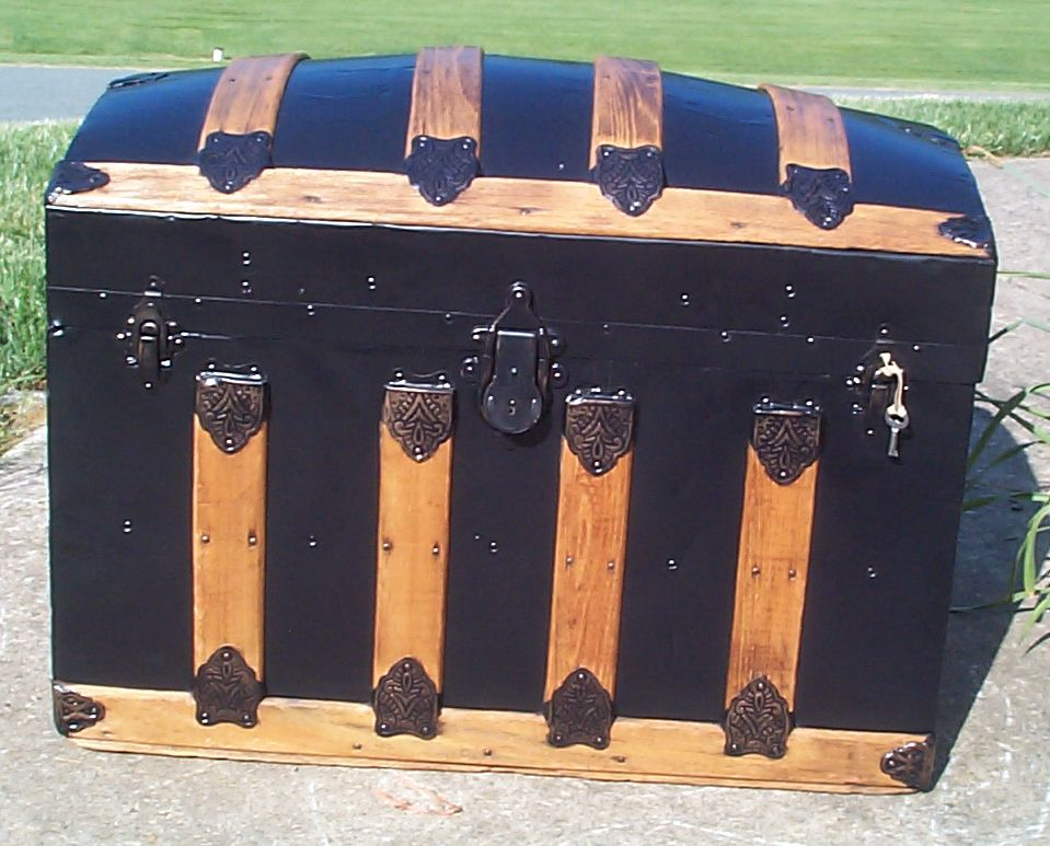 restored all metal and wood top antique trunk for sale 797