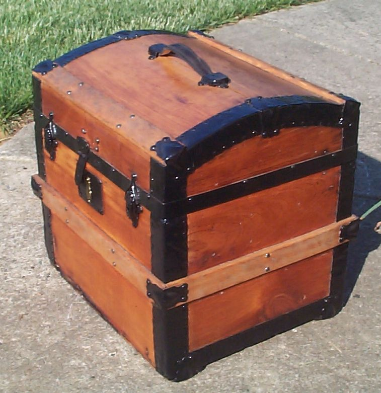 restored wood top antique trunk for sale 798