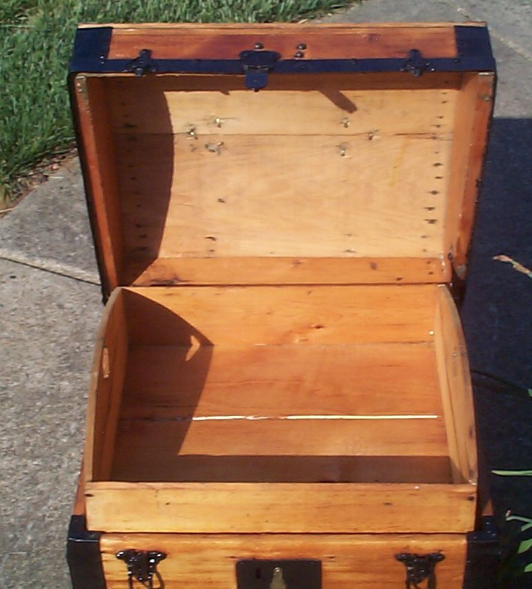 restored all wood top antique trunk for sale 798