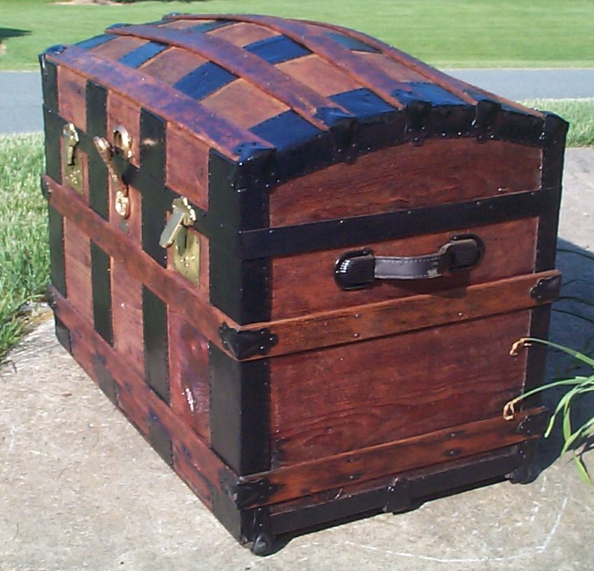 restored wood dome top antique trunk for sale 799