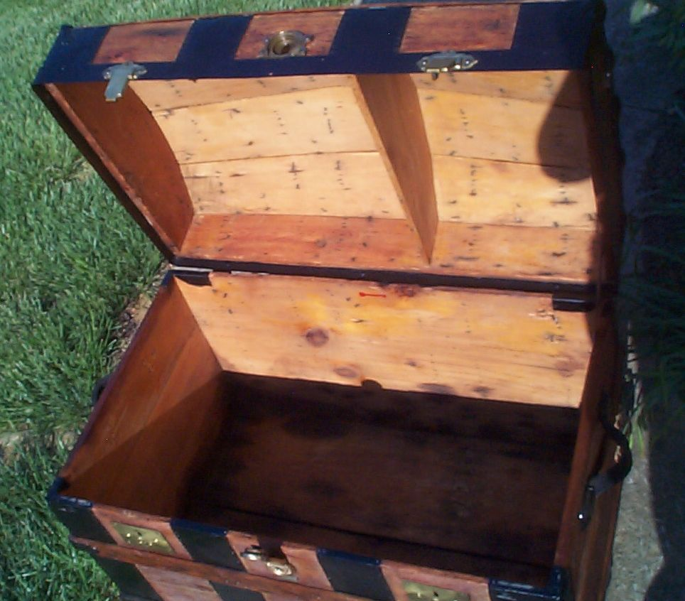 restored all wood dome top antique trunk for sale 799