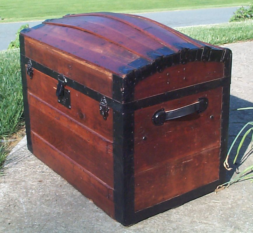 restored wood top antique trunk for sale 800