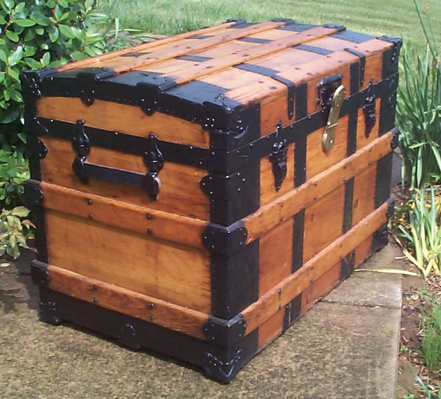 restored all wood roll top antique trunk for sale 801