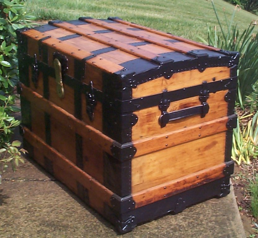 restored wood roll top antique trunk for sale 801