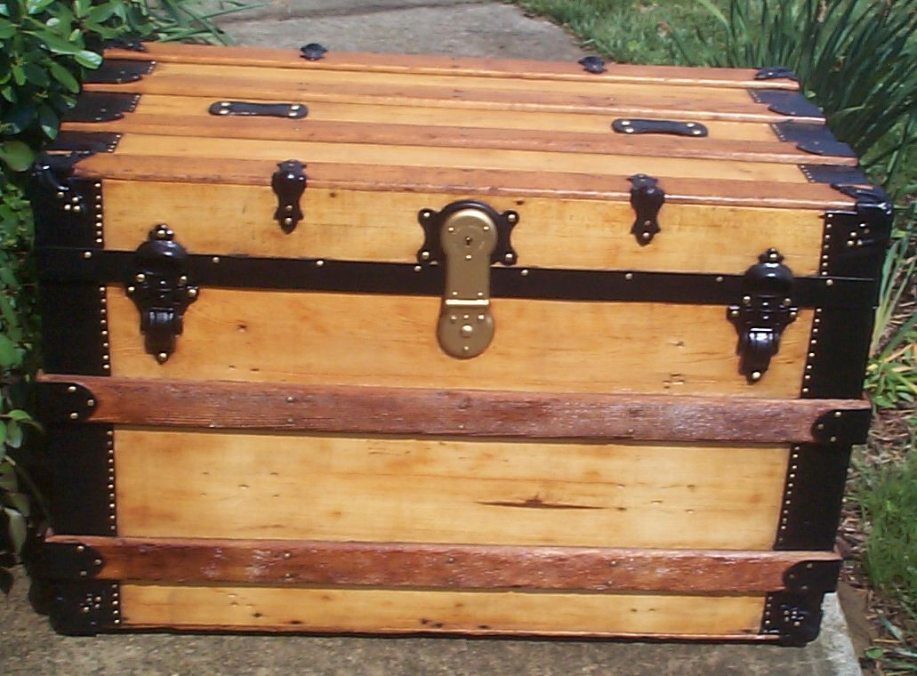 restored all wood flat top antique trunk for sale 802