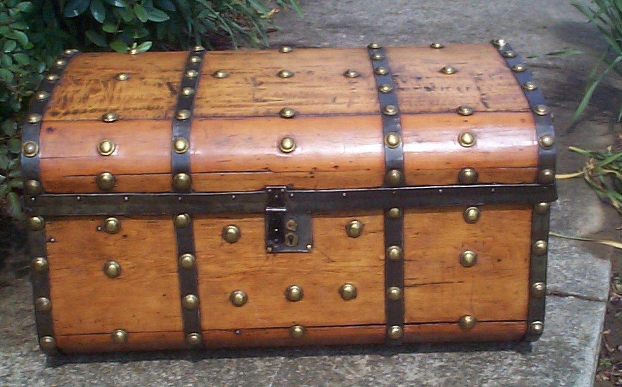 restored all wood jenny lind antique trunk for sale 803