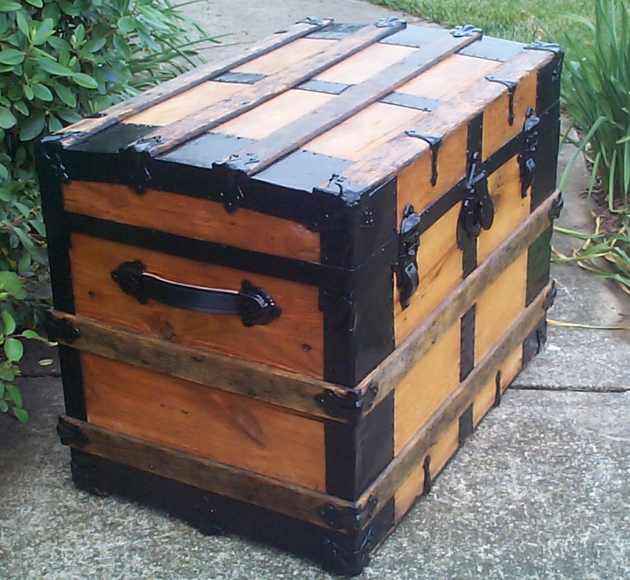 restored all wood roll top antique steamer trunk for sale 805