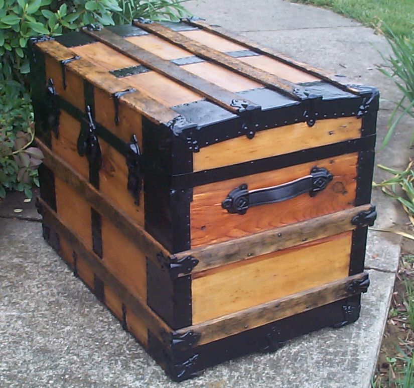 restored wood roll top antique steamer trunk for sale 805