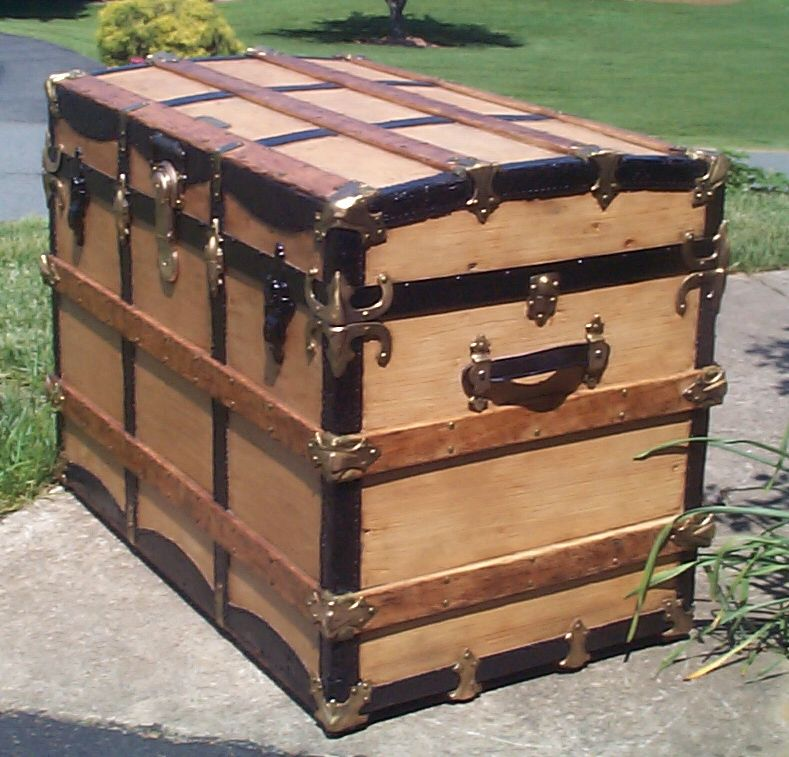 restored wood roll top antique steamer trunk for sale 806