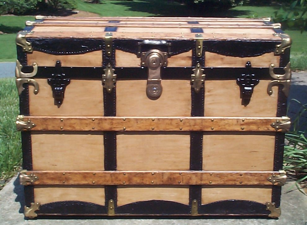 restored all wood roll top antique steamer trunk for sale 806