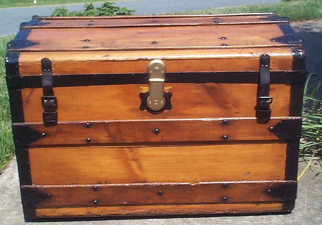 restored all wood roll top antique trunk for sale 807