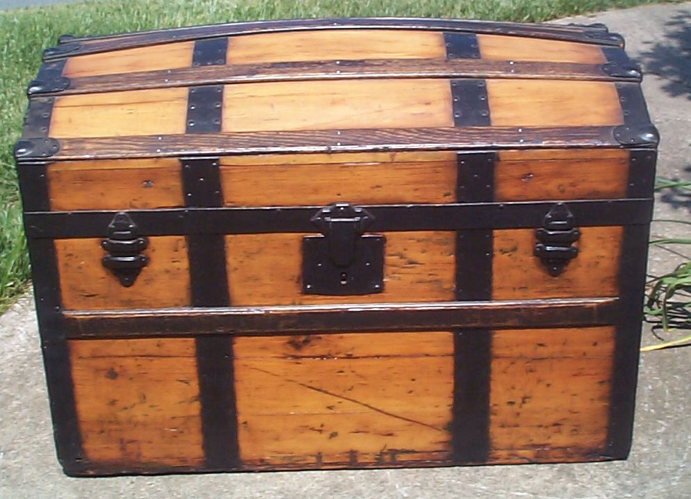 restored all wood humpback dometop antique trunk for sale 808