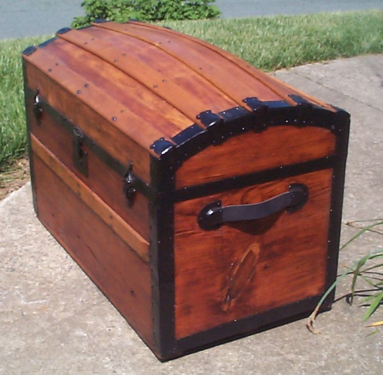 restored wood humpback dome top antique steamer trunk for sale 810