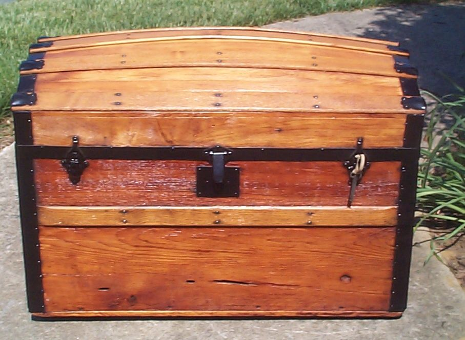 restored all wood humpback dome top antique steamer trunk for sale 810