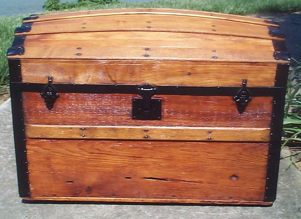 restored all wood humpback dometop antique trunk for sale 810