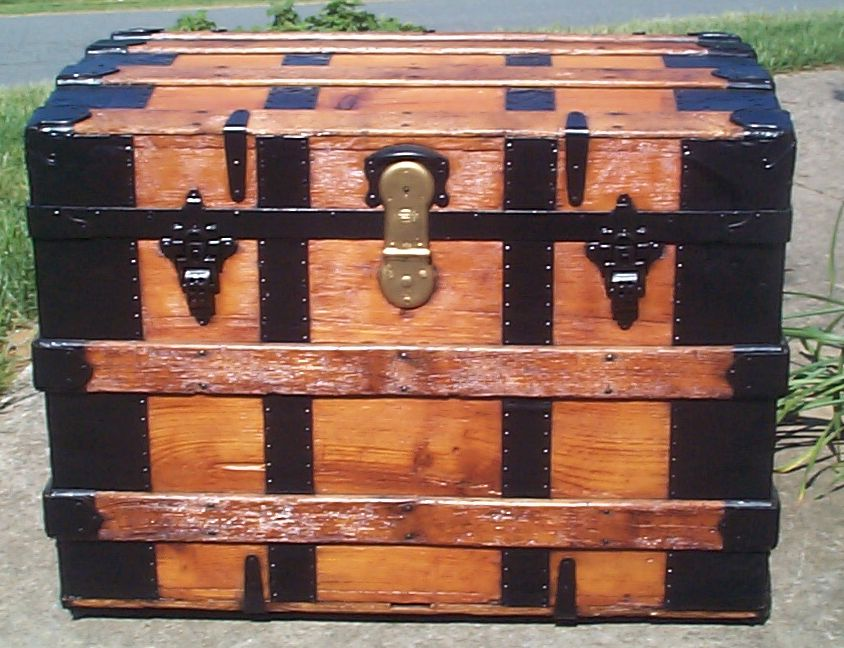 restored all wood humpback rolltop antique trunk for sale 811
