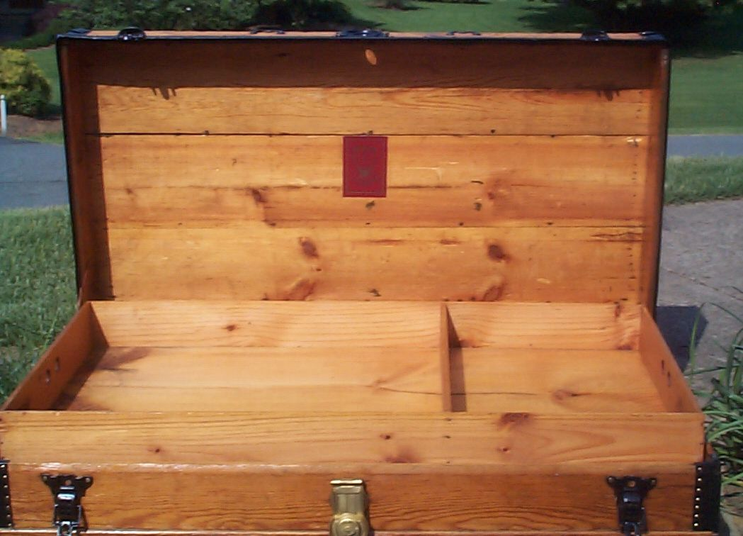 restored all wood low profile flat top antique steamer trunk for sale 813