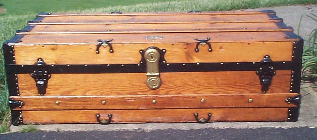 restored wood humpback roll top antique steamer trunk for sale 813