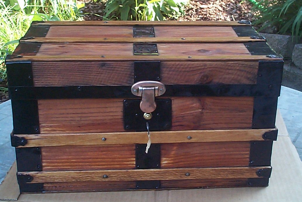 restored all wood flat top salesman sampler antique trunk for sale 814
