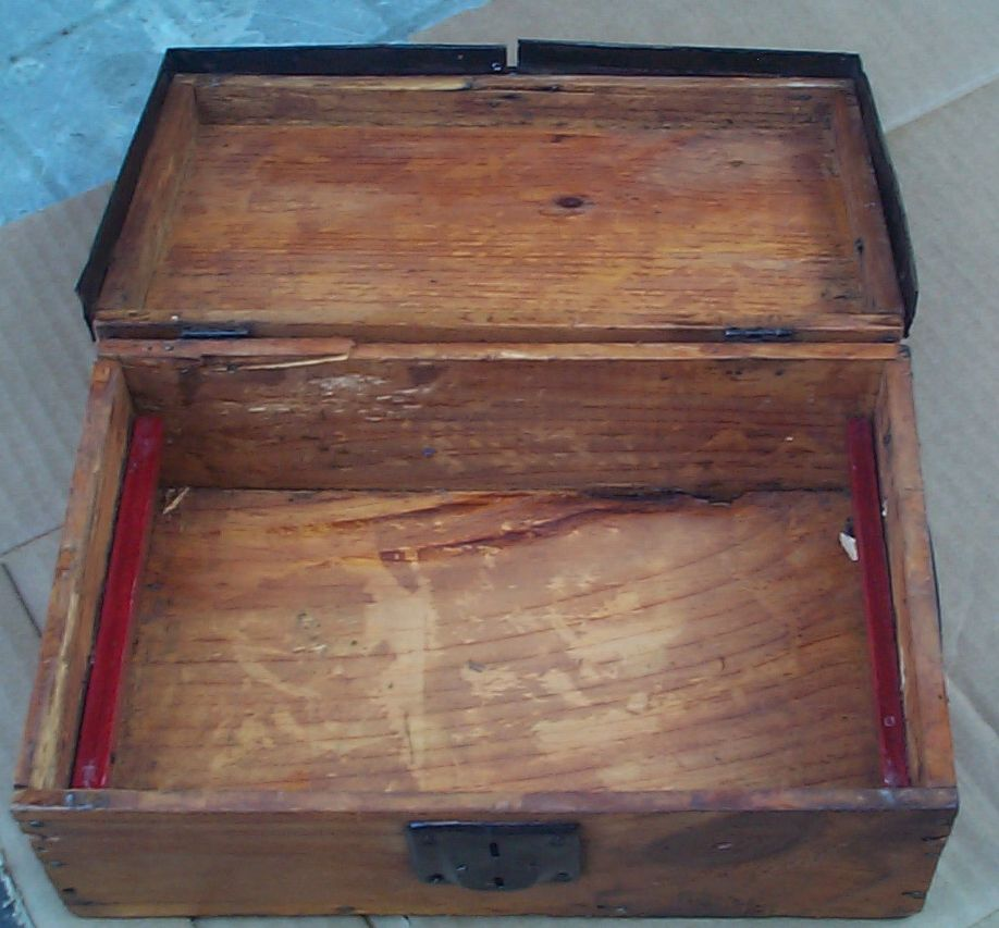 restored all wood salesman sampler flat top antique trunk for sale 815