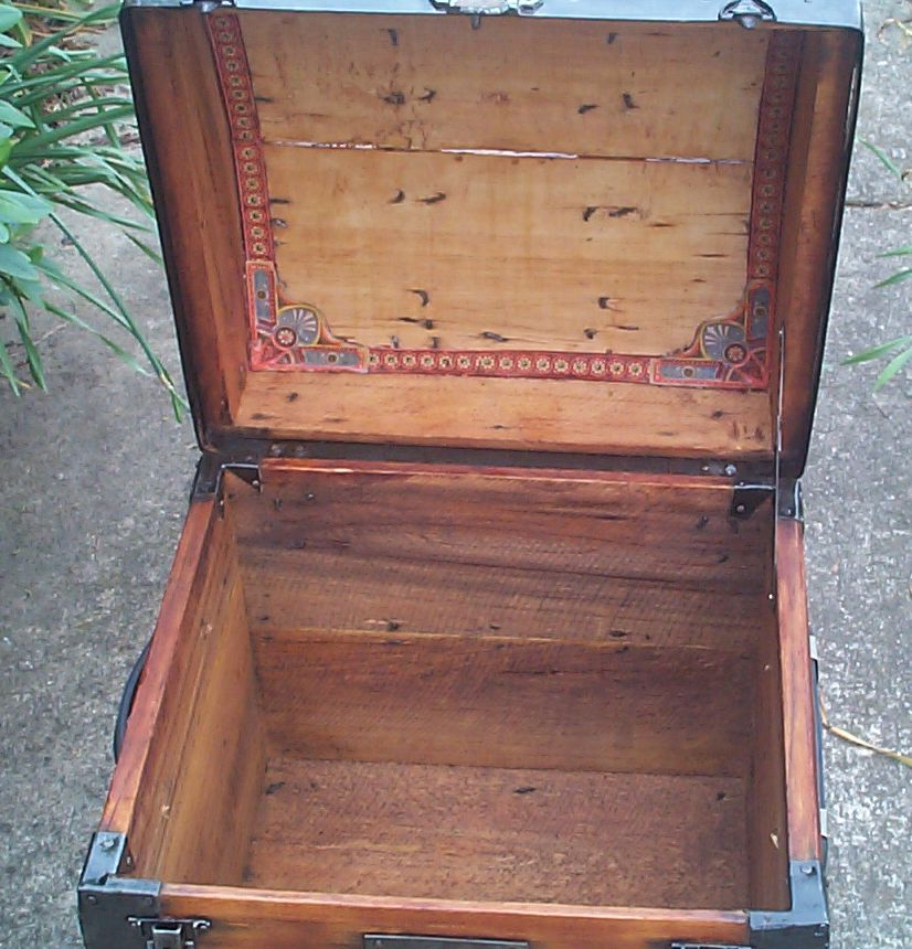 restored all wood roll top antique trunk for sale 816