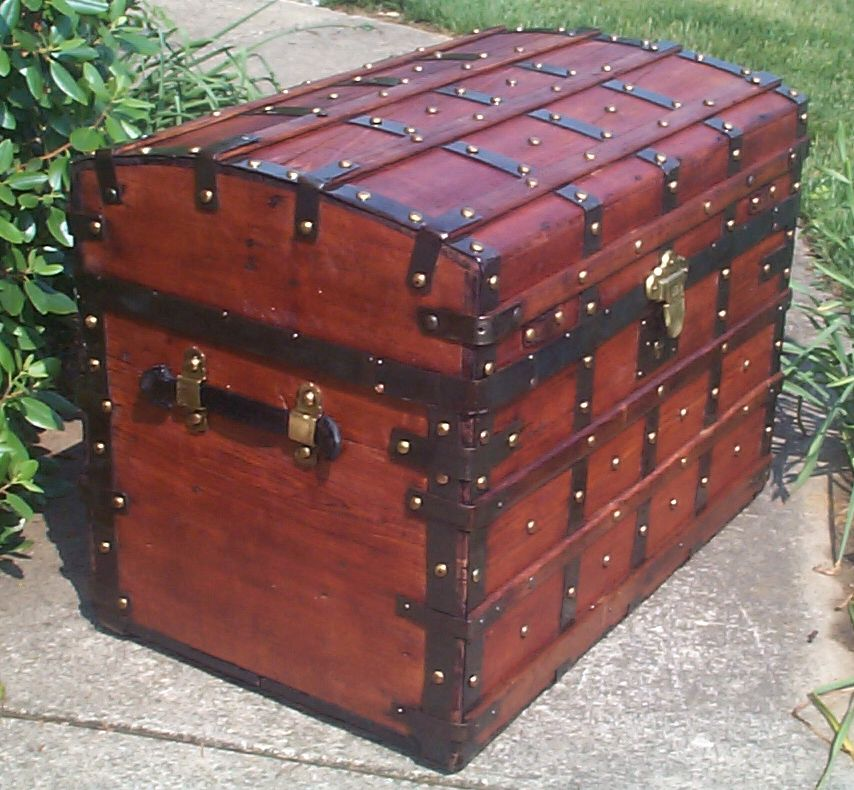 restored all wood roll top antique trunk for sale 817