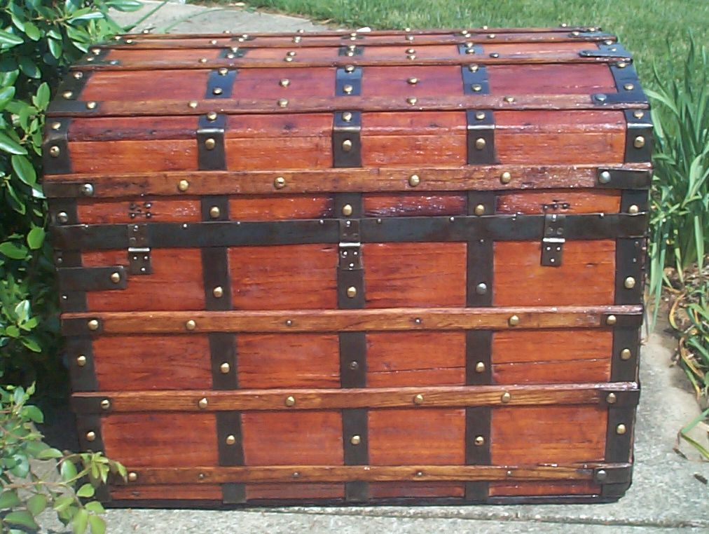 restored wood roll top antique trunk for sale 817