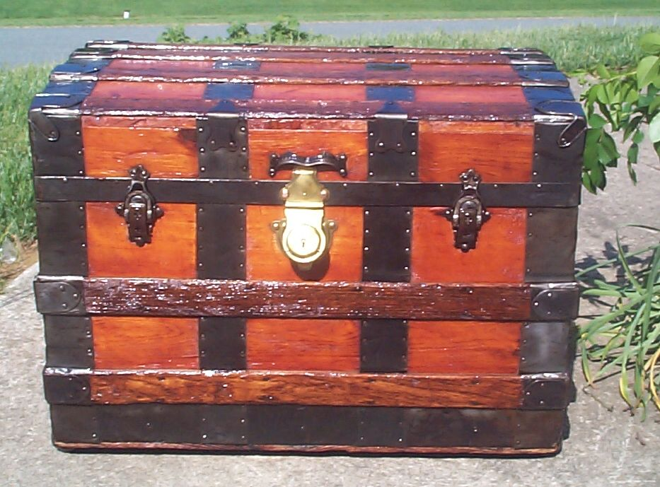 restored all wood roll top antique trunk for sale 818