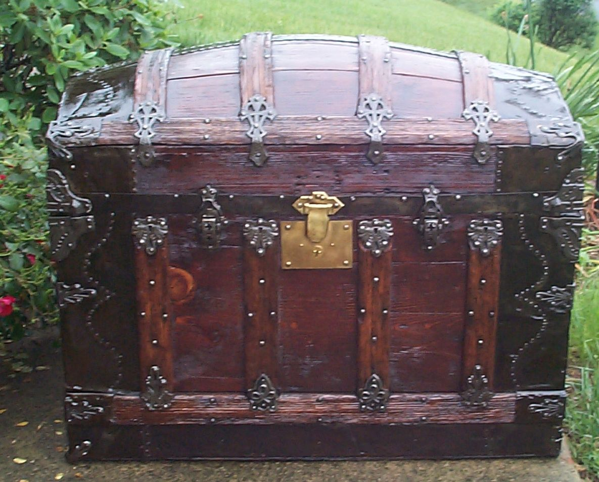 restored all wood top antique trunk for sale 800