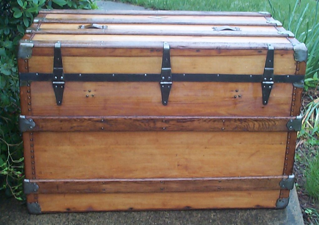 restored wood flat top antique trunk for sale 820