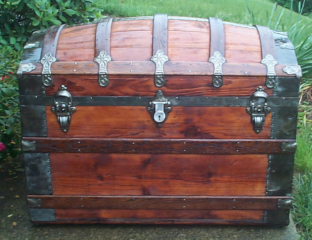 restored all wood dome top antique trunk for sale 821