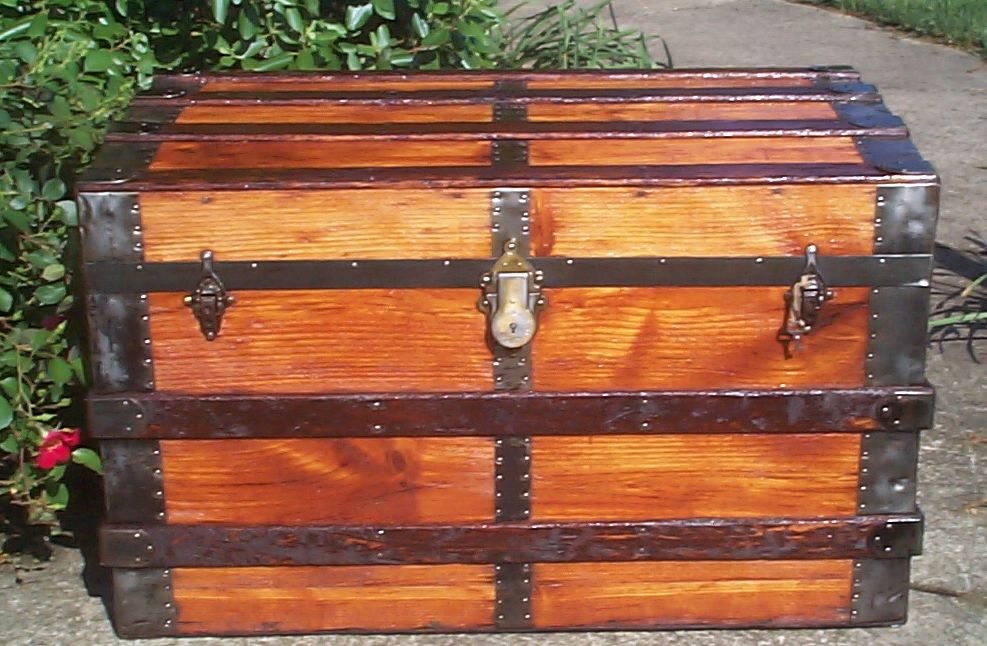 restored all wood flat top antique Steamer trunk for sale 822