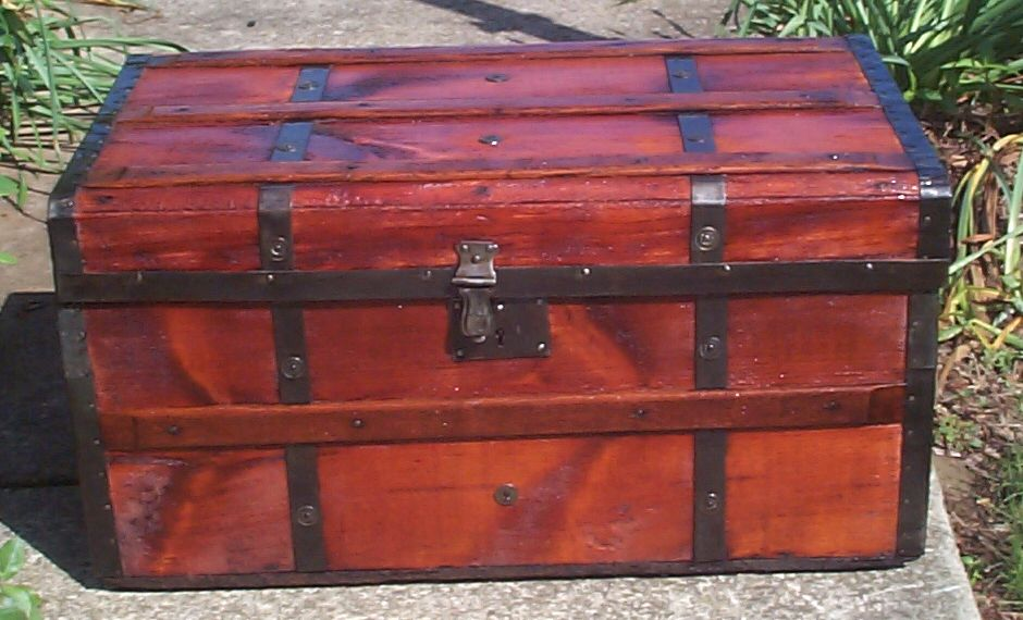 restored all wood flat top antique civil war trunk for sale 823