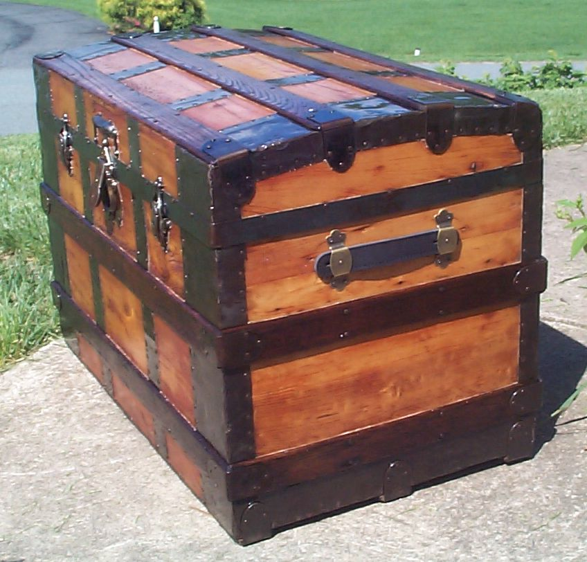 restored wood roll top antique trunk for sale 824