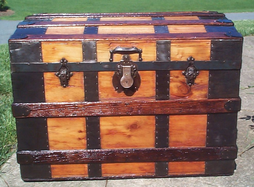 restored all wood roll top antique Steamer trunk for sale 824
