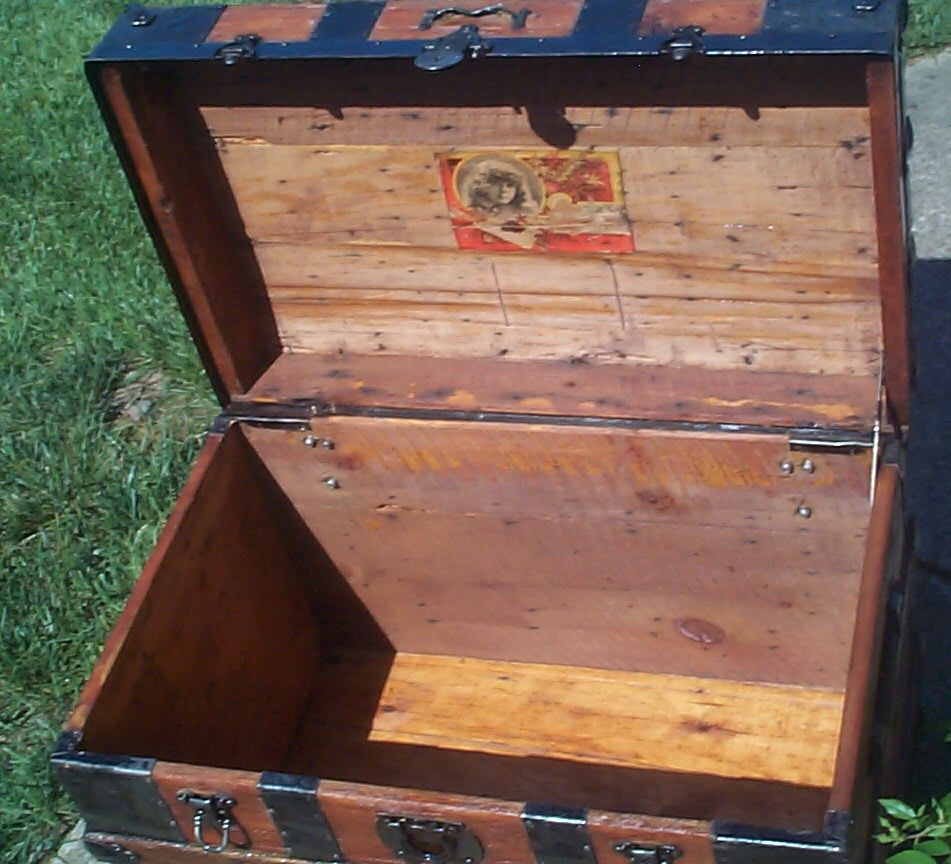 restored all wood roll top antique trunk for sale 825