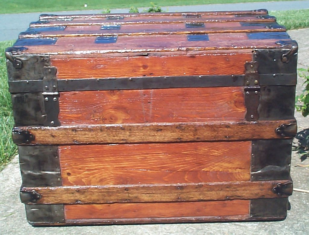 restored wood roll top antique trunk for sale 825