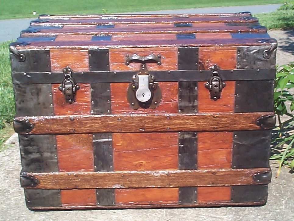 restored all wood roll top antique Steamer trunk for sale 825
