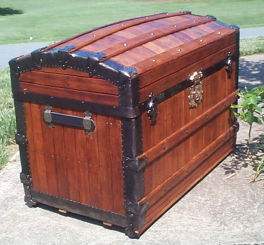 restored all dome wood top oak slat trunk for sale 826