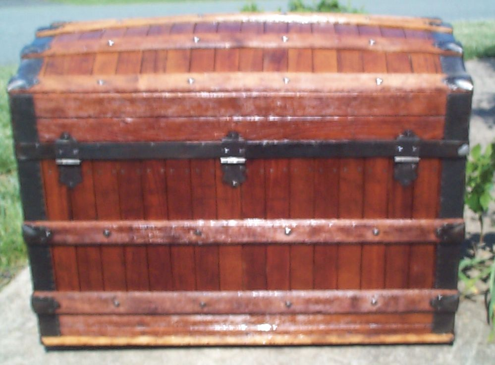 restored wood dome top antique oak slat trunk for sale 826