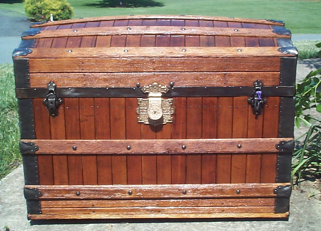 restored all wood dome top antique oak slat trunk for sale 826