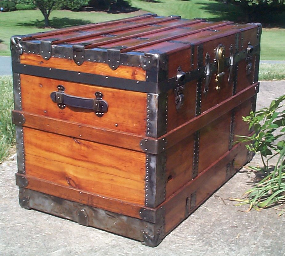restored all wood flat top antique trunk for sale 827