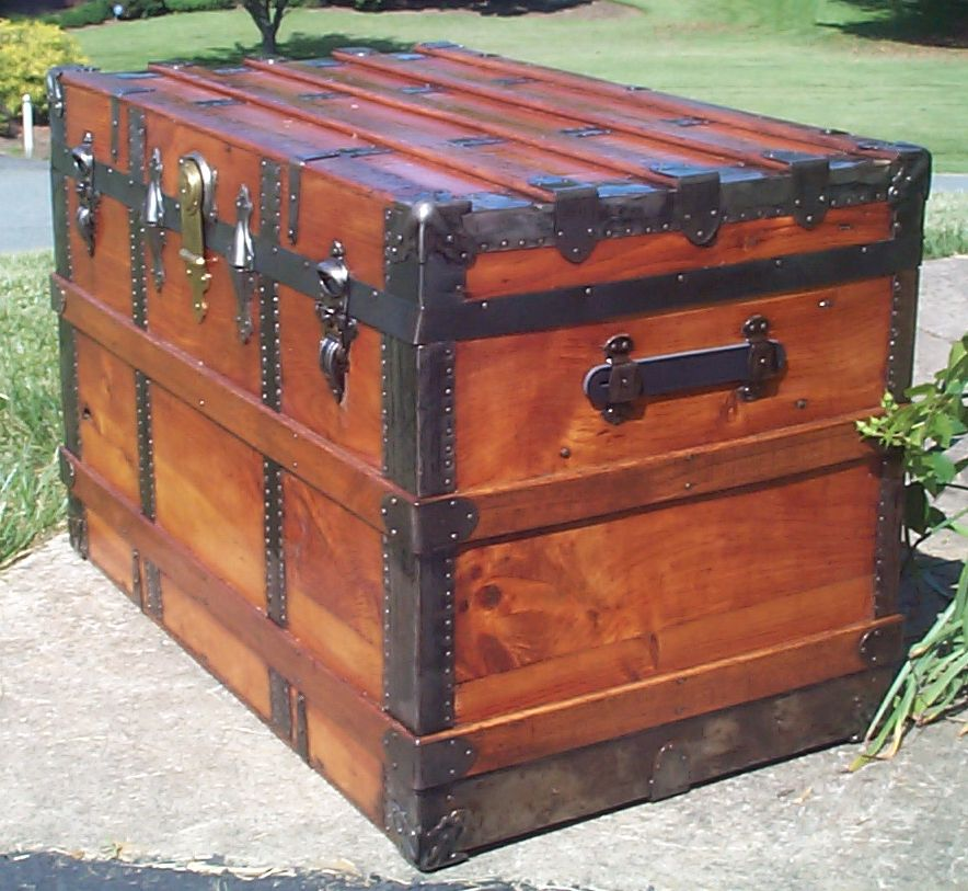 restored wood flat top antique trunk for sale 827