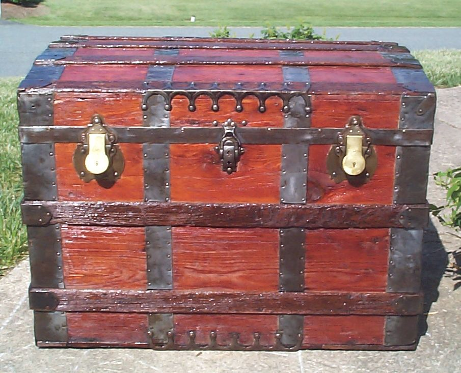 restored all wood flat top antique trunk for sale 828