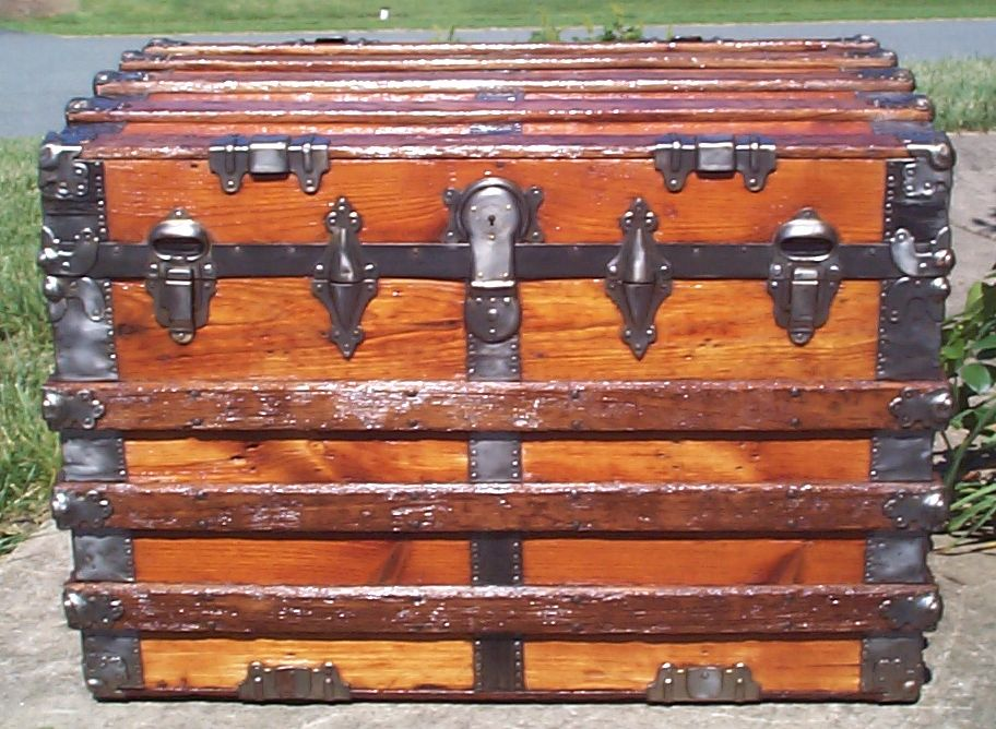 restored wood roll top antique trunk for sale 829