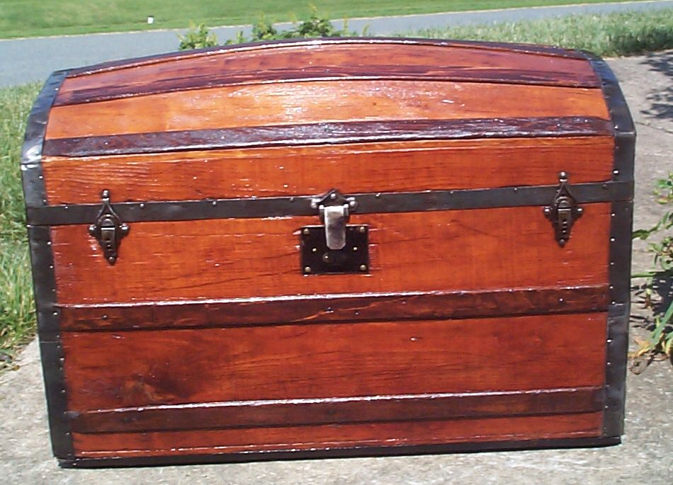 restored all wood humpback or dometop or dome top antique trunk for sale 830