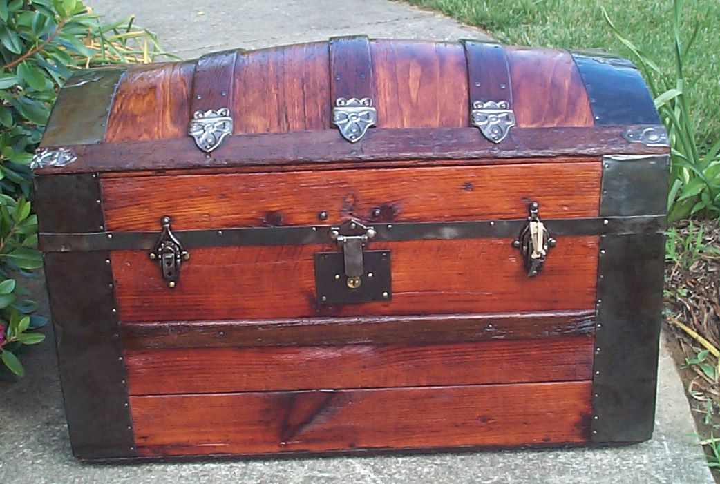 restored all wood dome top antique trunk for sale 832